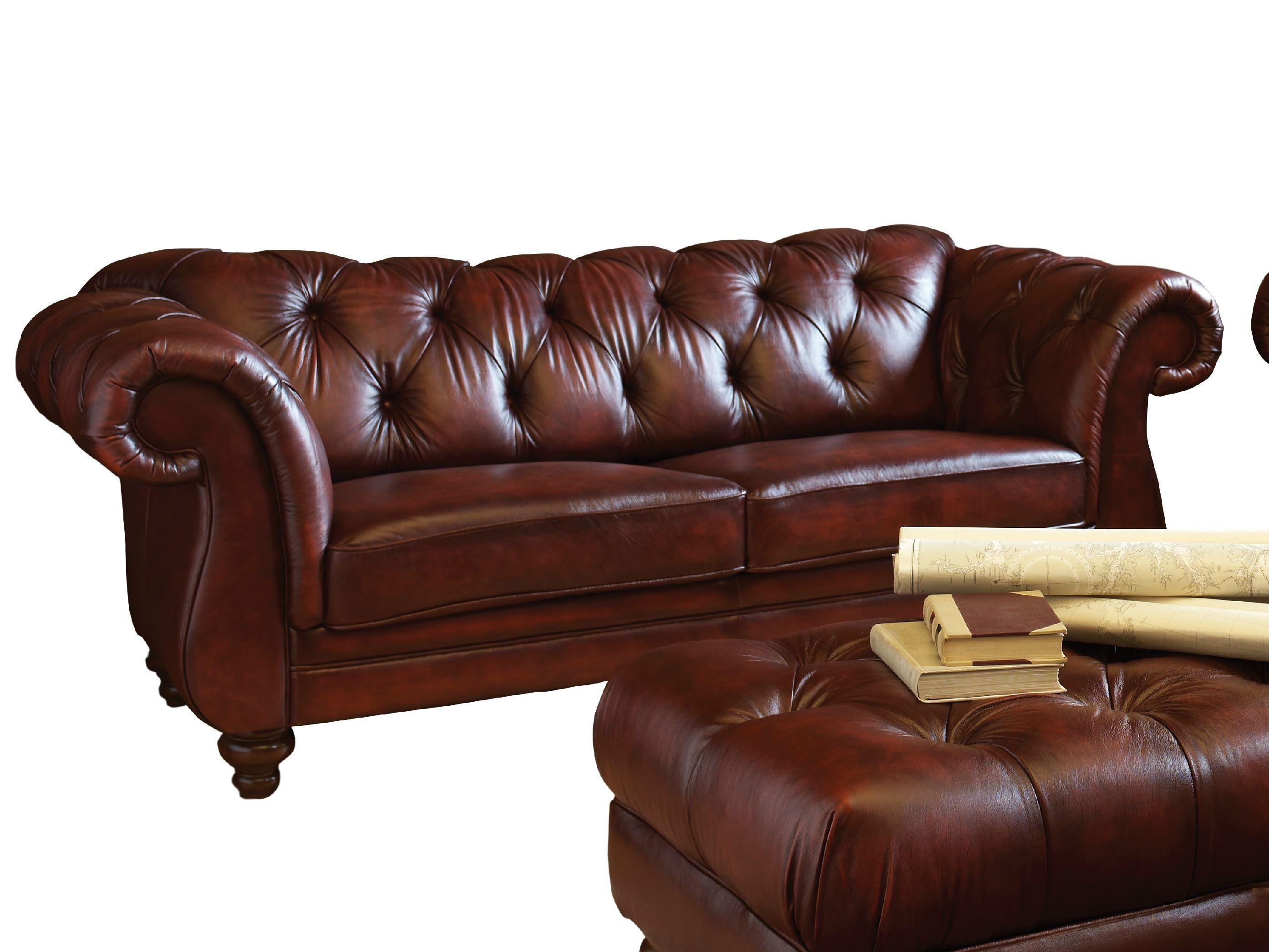 Dark Brown Color Modern Two Seater Leather Tufted Sofa With Intended For Brown Leather Tufted Sofas (Image 3 of 20)