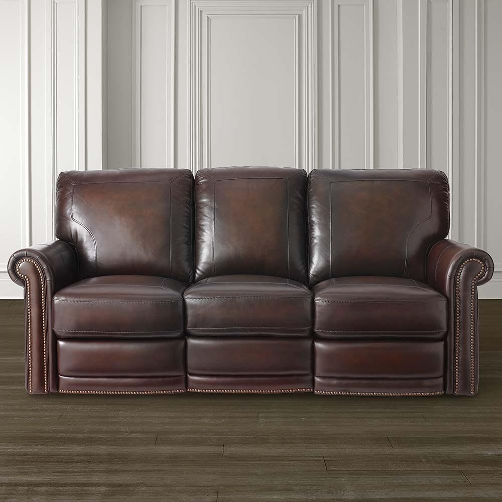 Dark Brown Leather Motion Sofa | Bassett Home Furnishings Throughout Leather Motion Sectional Sofa (View 13 of 20)