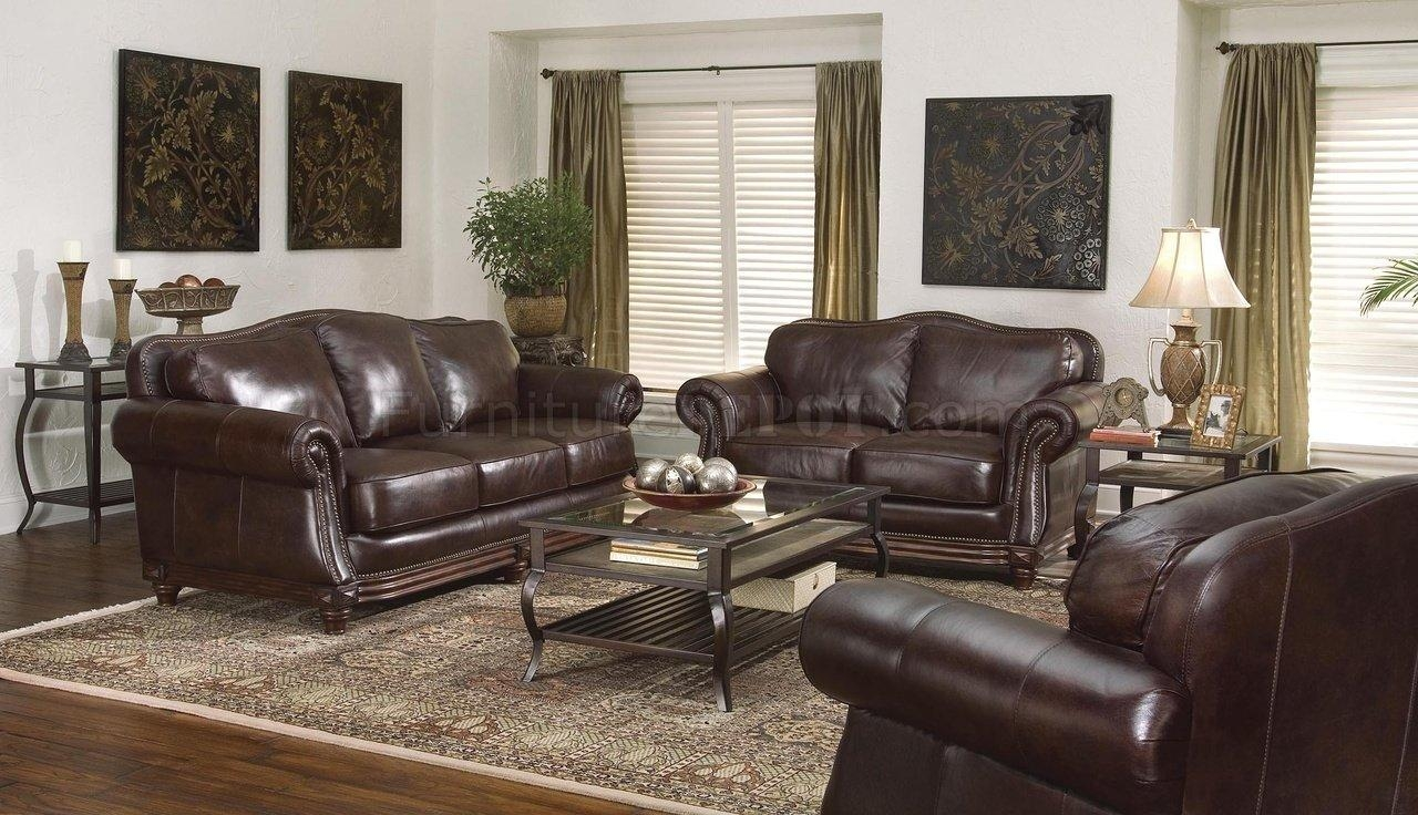 Dark Brown Leather Traditional Living Room W/nail Head Trim In Brown Leather Sofas With Nailhead Trim (Image 7 of 20)