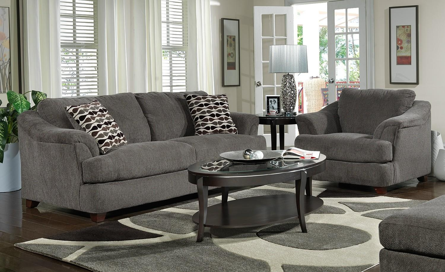 Dark Grey Living Room Furniture With Gray Sofa And Wooden Gray Within Grey Sofa Chairs (Image 4 of 20)