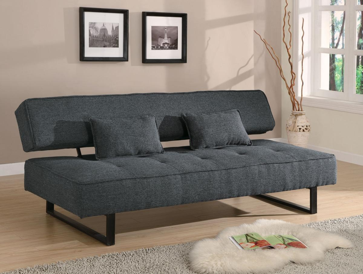 Dark Grey Tweed Like Fabric Sofa Bed Futon – Caravana Furniture Within Tweed Fabric Sofas (Image 6 of 20)