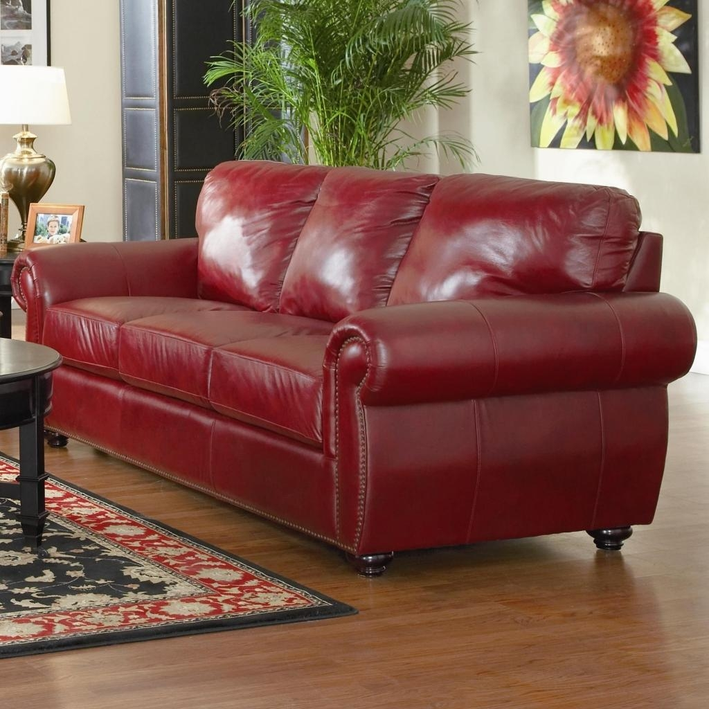 Dark Red Leather Sofa For Home | Cheapfurniture Online Inside Dark Red Leather Couches (Image 5 of 20)