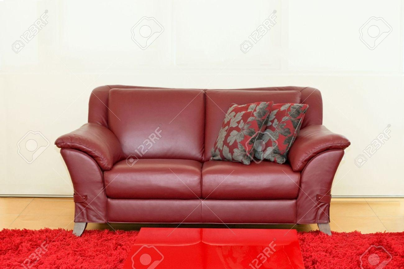 Dark Red Leather Sofa Over White Wall Stock Photo, Picture And Inside Dark Red Leather Couches (Image 6 of 20)