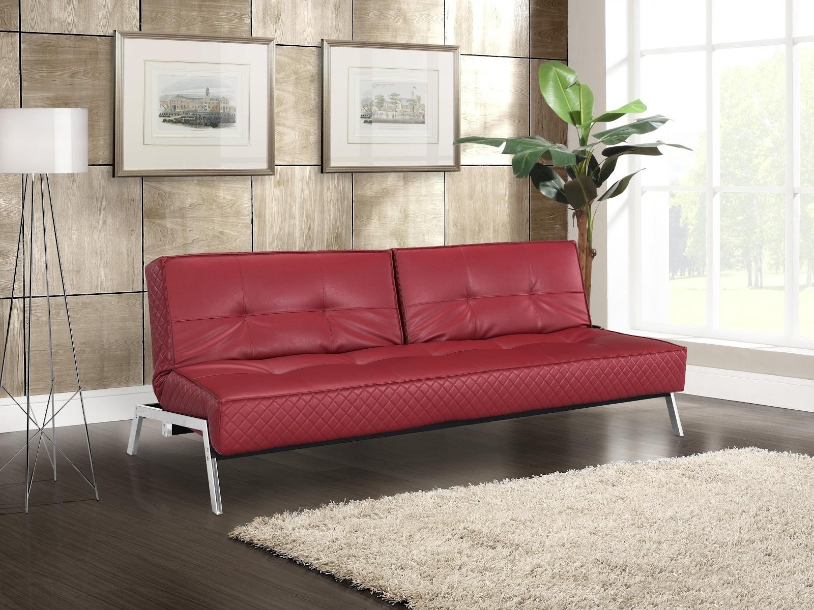Dark Red Leather Sofa With Short Carving Black Wooden Legs On For Dark Red Leather Sofas (Image 7 of 20)