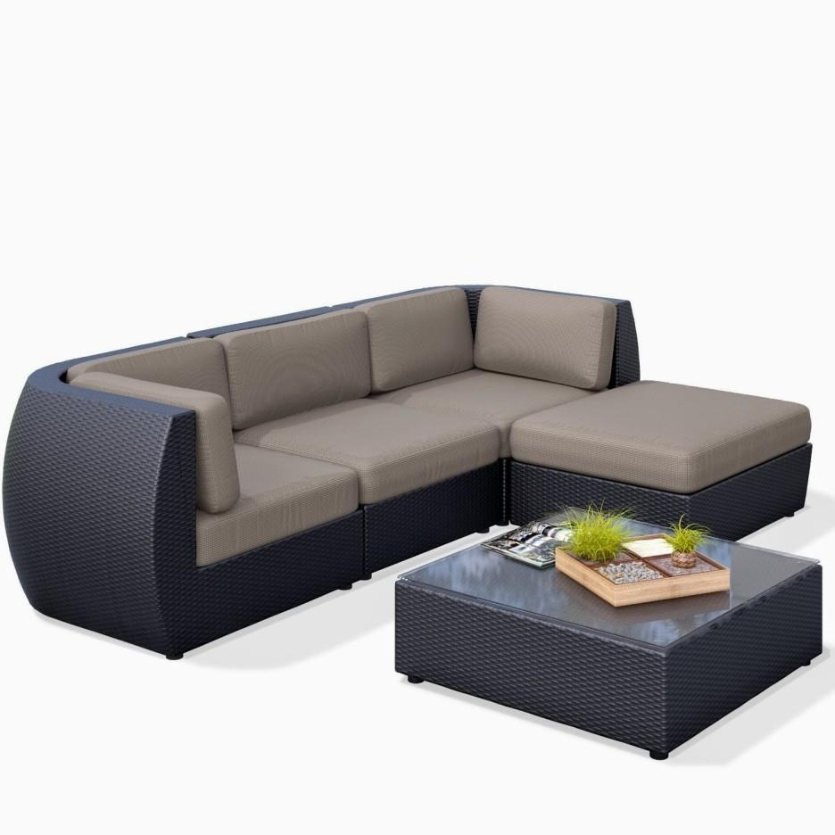 Dark Wicker Short Sectional Sofa Faced Off Mini Potted Plants Pertaining To Short Sectional Sofas (Image 4 of 20)