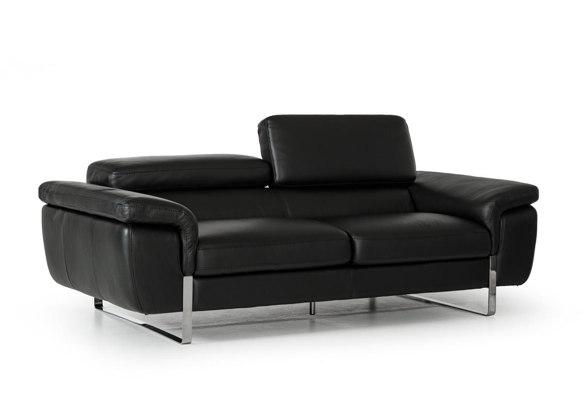 David Ferrari Highline Italian Modern Black Leather Sofa Set For Italian Recliner Sofas (Image 5 of 20)