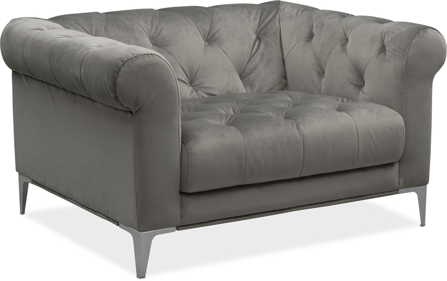 David Sofa And Two Cuddler Chairs Set – Flannel | Value City Furniture Throughout Sofa Chairs (View 18 of 20)