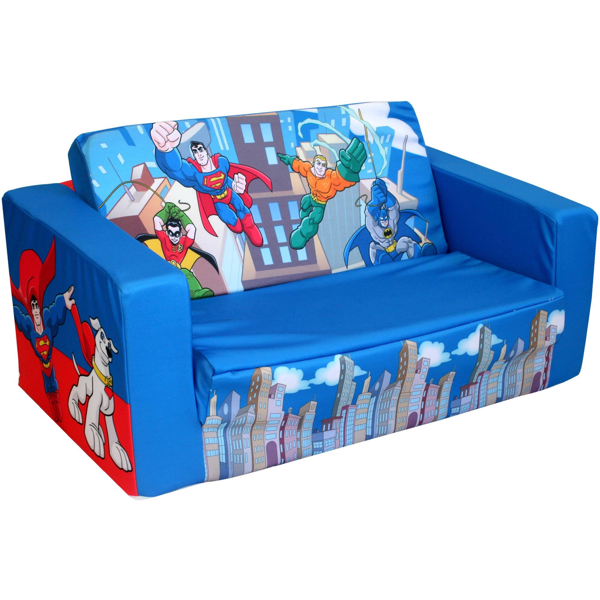 Dc Super Friends Mini Heroes Kids Flip S – Walmart With Regard To Flip Open Sofas For Toddlers (View 16 of 20)