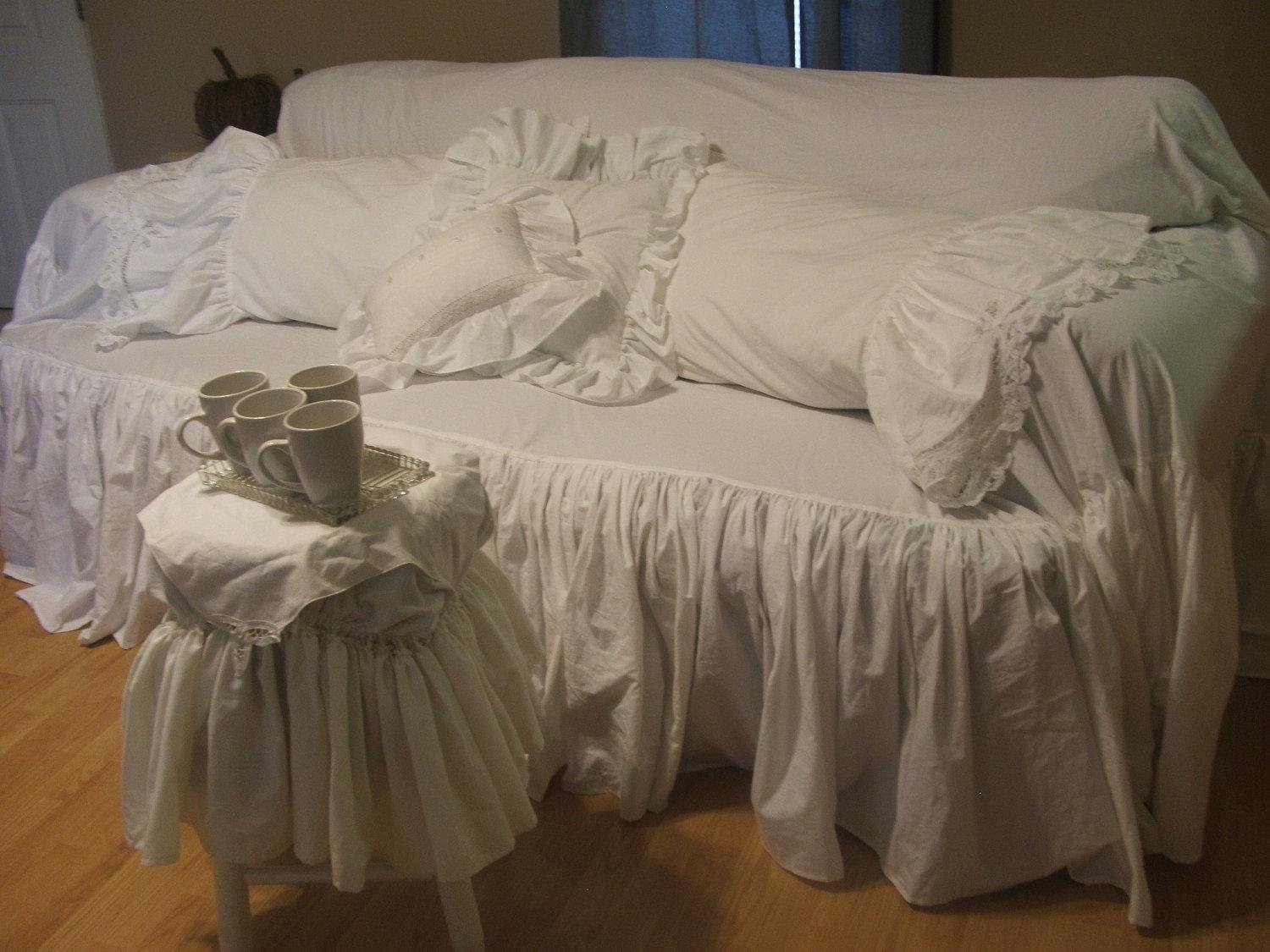 Decor: Lovely Shabby Chic Slipcovers For Enchanting Furniture Pertaining To Shabby Chic Sofa Slipcovers (Image 7 of 20)