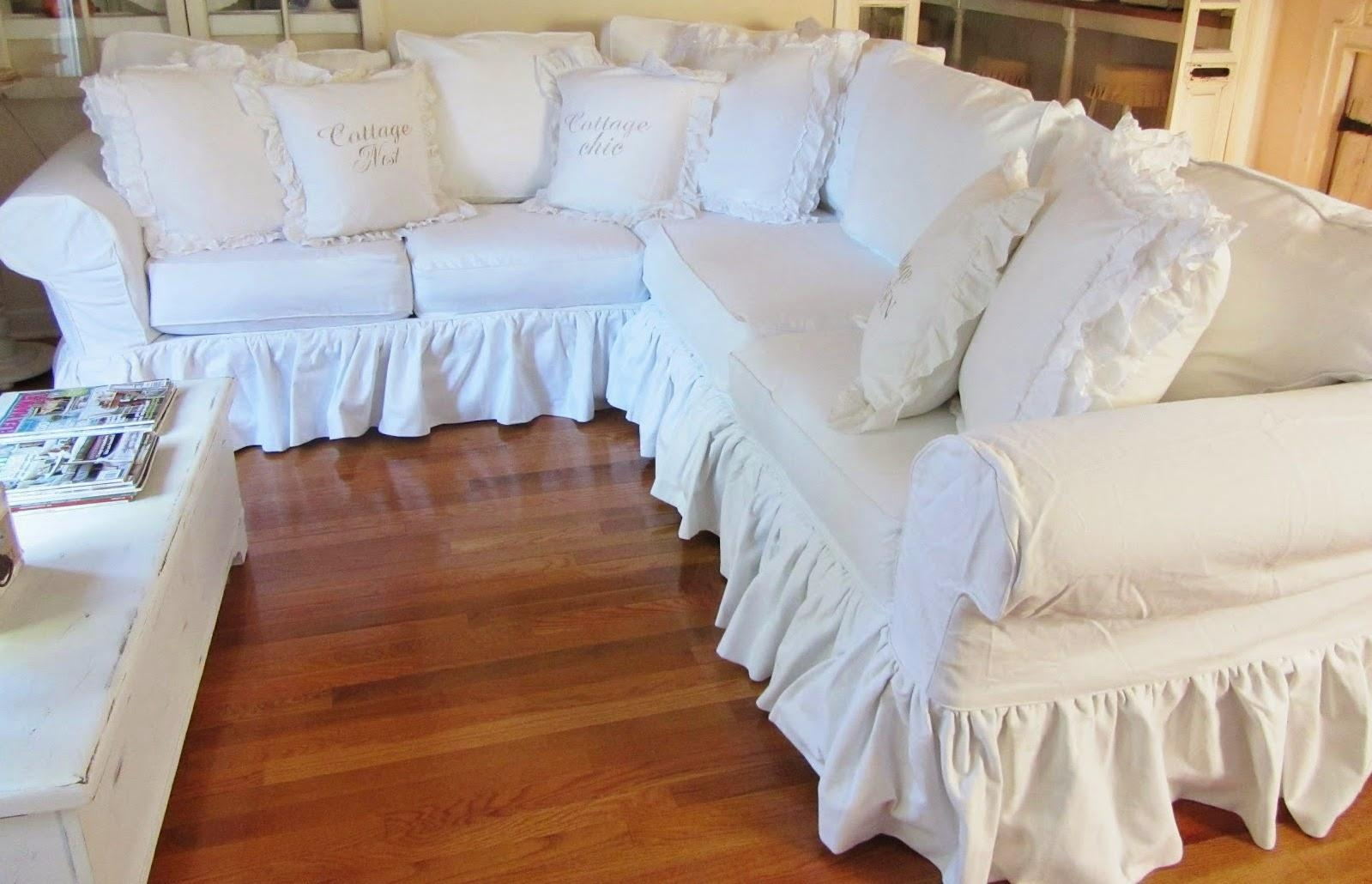Decor: Lovely Shabby Chic Slipcovers For Enchanting Furniture Within Shabby Chic Sectional Sofas (Image 2 of 20)