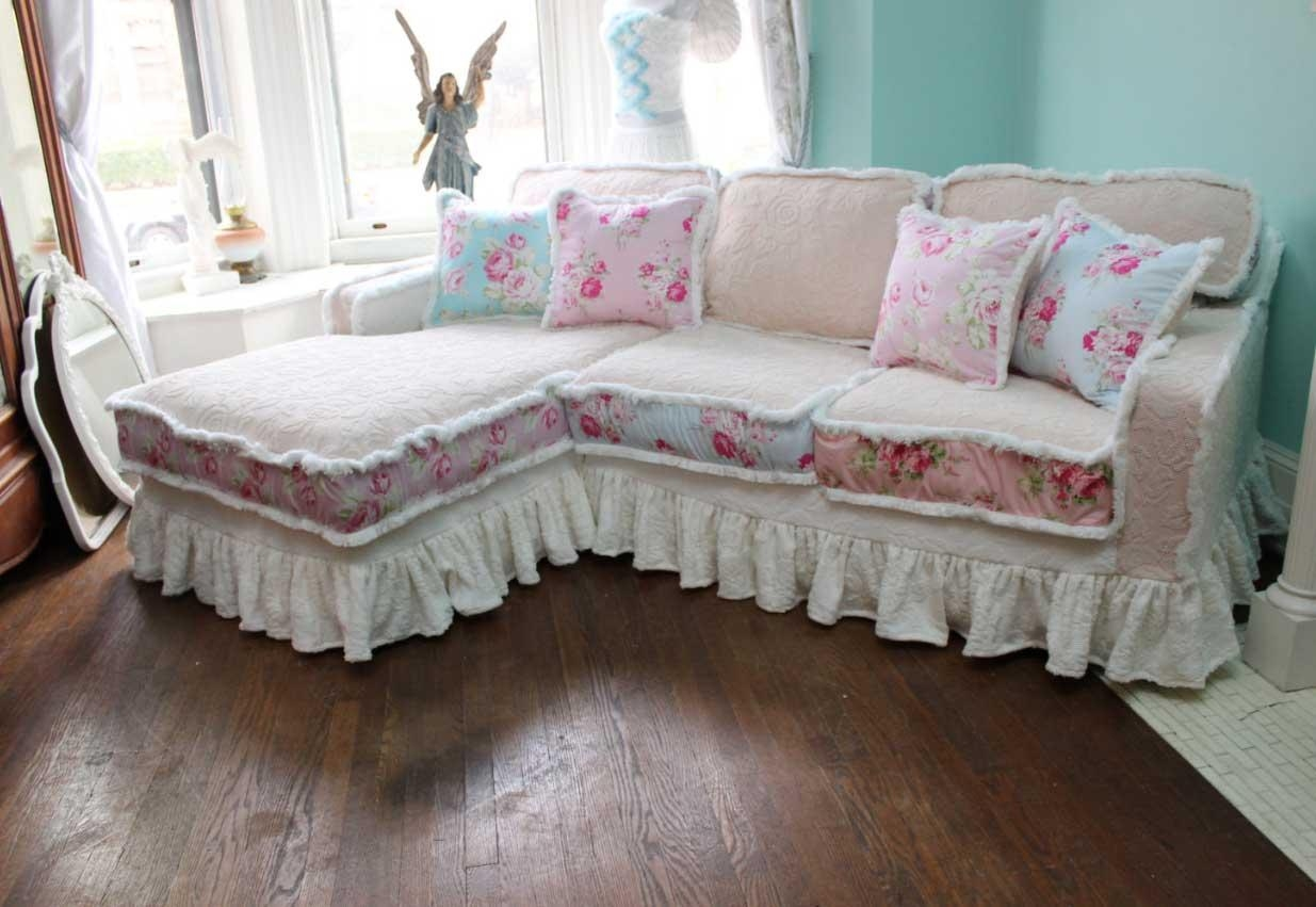 Decor: Lovely Shabby Chic Slipcovers For Enchanting Furniture Within Shabby Chic Sofa Slipcovers (View 4 of 20)