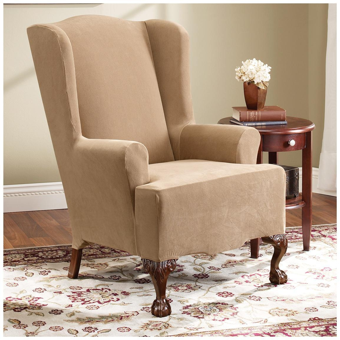 Decor: Pretty Design Of Wingback Chair Covers For Chic Furniture Regarding Sofa And Chair Slipcovers (View 8 of 20)