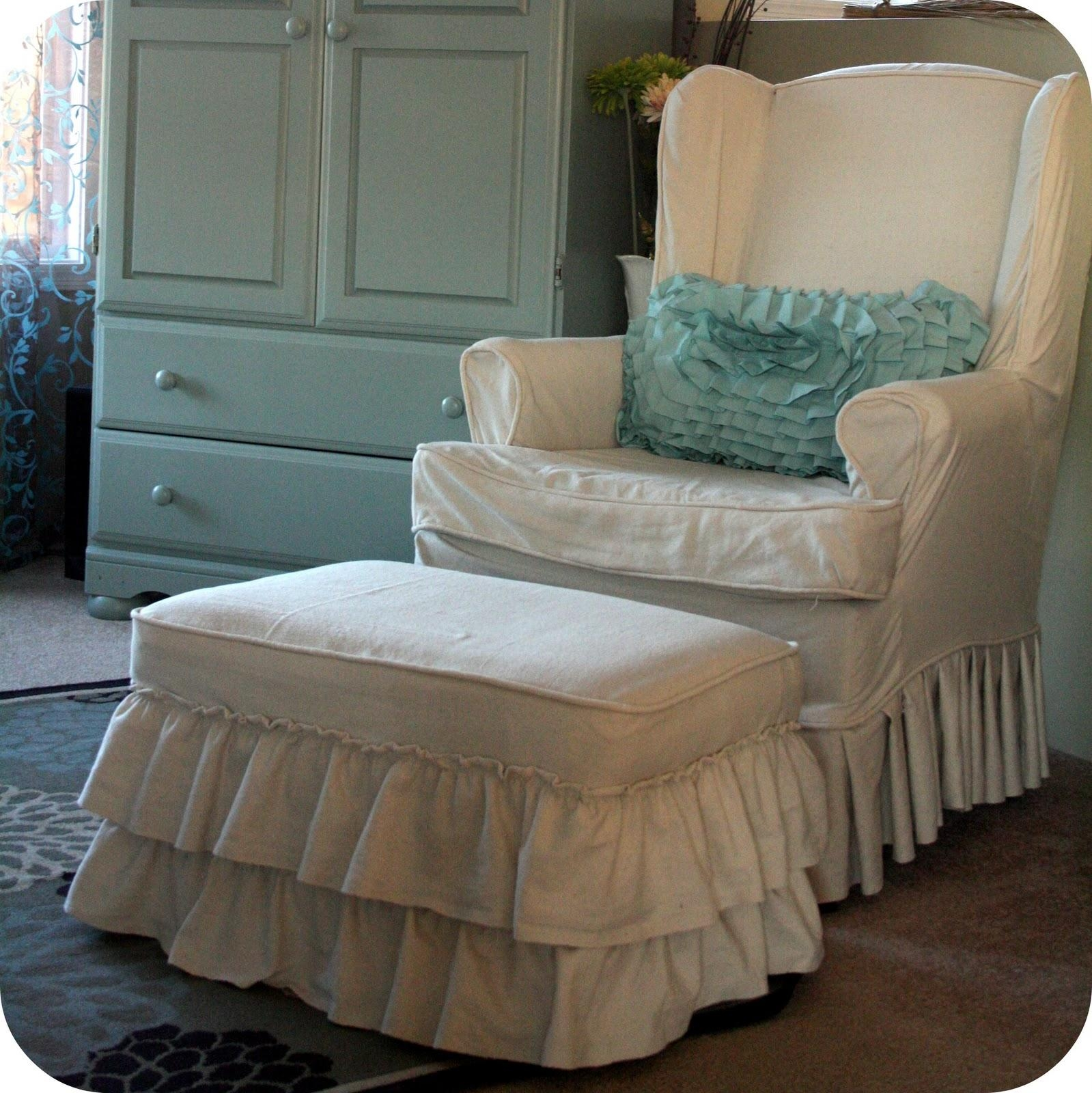 Decorating: Alluring Wingback Chair Covers For Beautiful Furniture In Slipcovers For Chairs And Sofas (View 7 of 20)