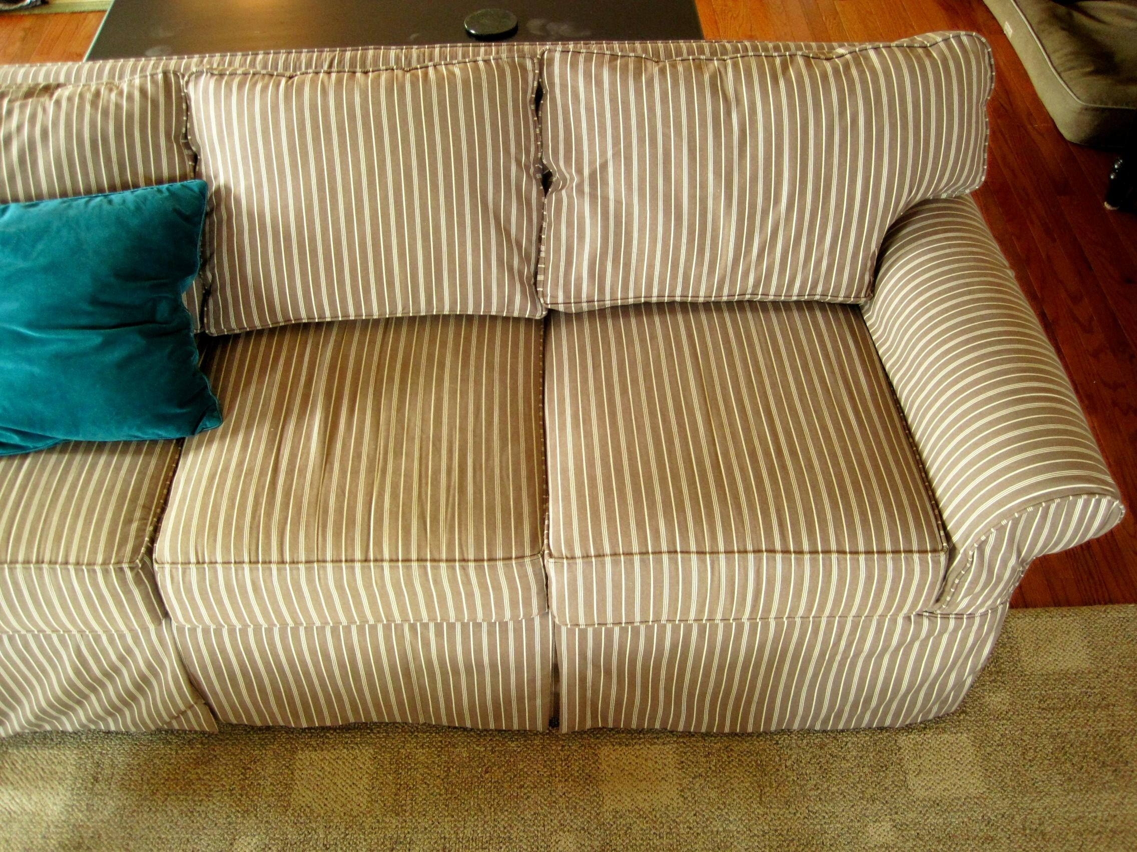 Decorating: Beautiful Cheap Slipcovers For Living Room Decoration Regarding Striped Sofas And Chairs (View 7 of 20)