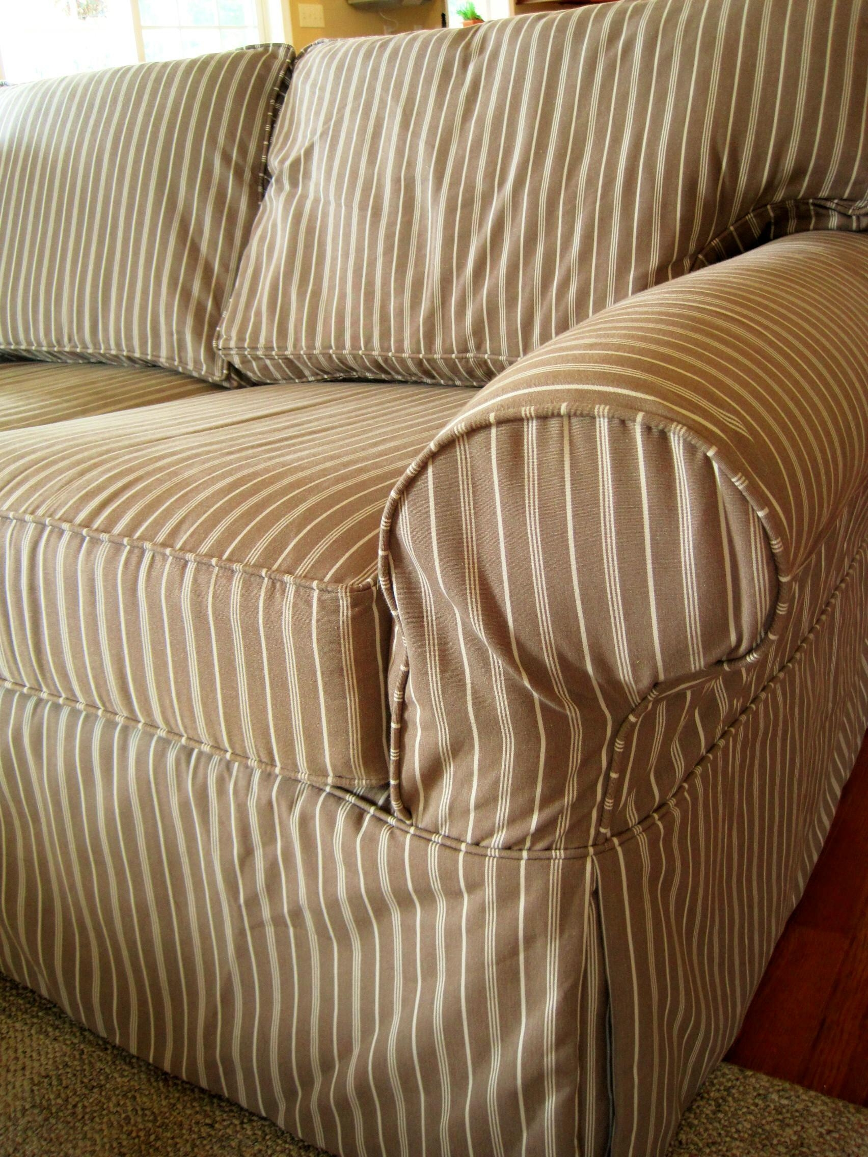 Decorating: Cozy Slipcovers For Sofas With Cushions Separate In With Striped Sofa Slipcovers (Image 5 of 20)
