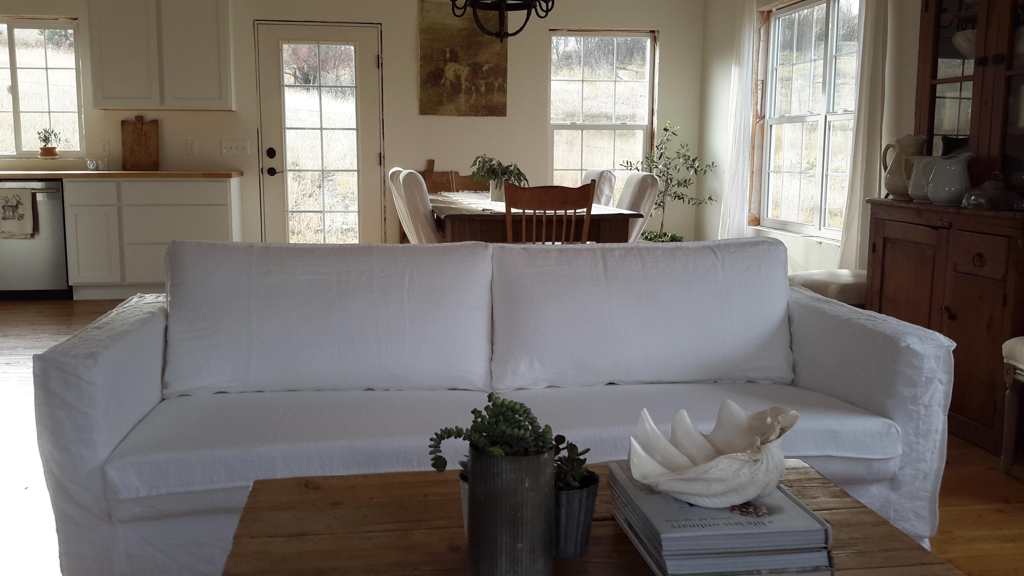 Decorating: Elegant Cream Leather Ethan Allen Slipcovers For Throughout Allen White Sofas (View 14 of 20)