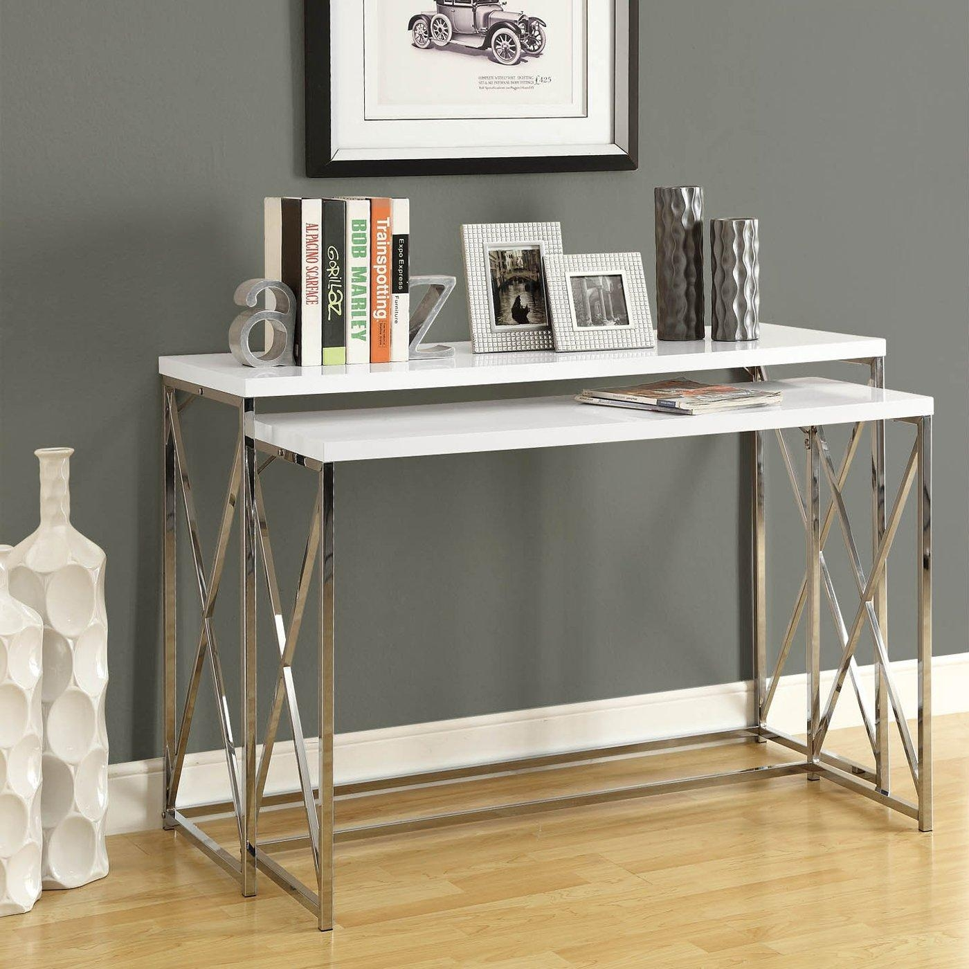 Decorating: Engaging Pattern Of Slim Console Table For Home Pertaining To Slim Sofa Tables (Image 8 of 20)