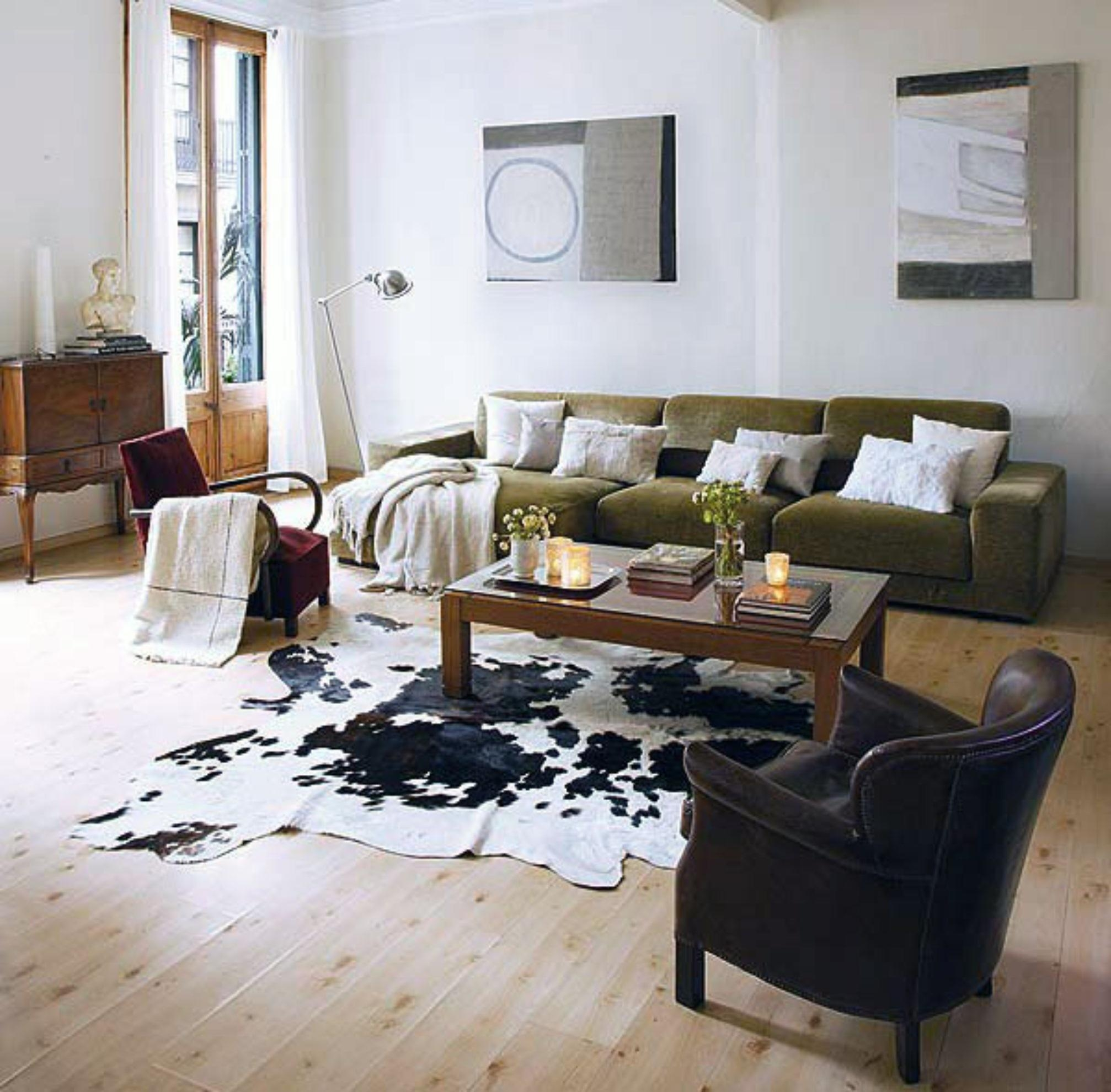 Decorating: Traditional Living Room Design With White Coffee Table With Cowhide Sofas (Image 10 of 20)