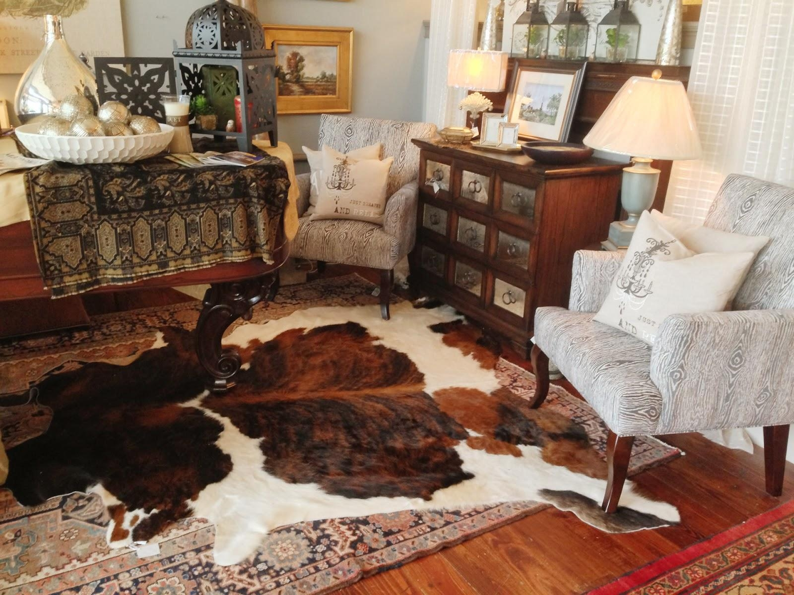Decorating: Traditional Living Room Design With White Coffee Table With Regard To Cowhide Sofas (Image 11 of 20)
