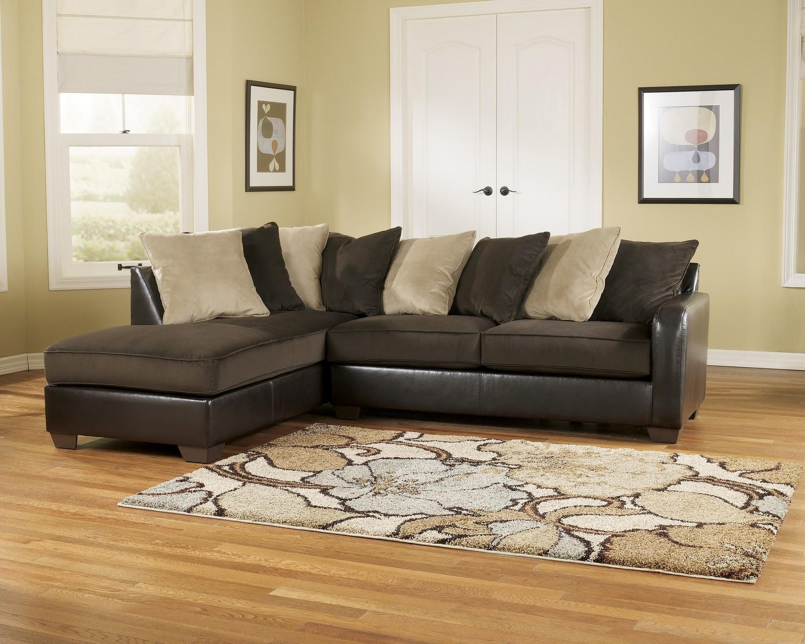 Decorating: Vista Chocolate Casual 3 Piece Ashley Furniture Within Chocolate Brown Sectional With Chaise (Image 6 of 15)