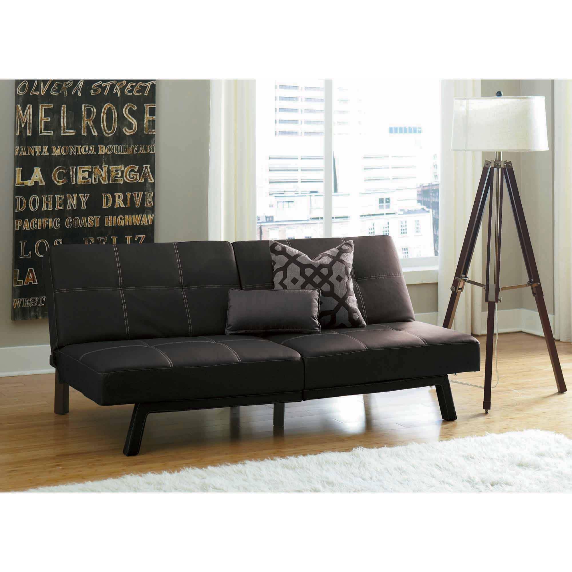 Delaney Split Back Futon Sofa Bed, Multiple Colors – Walmart Throughout Faux Leather Futon Sofas (Image 2 of 20)