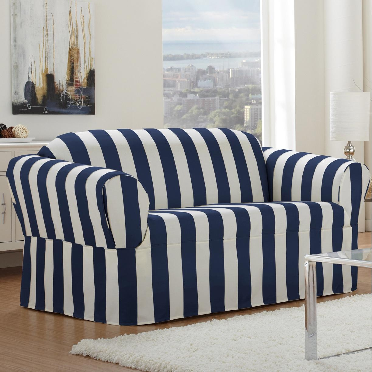 Delightful Modern Couch Slipcovers Black Color Polyester Spandex Regarding Striped Sofa Slipcovers (Image 7 of 20)