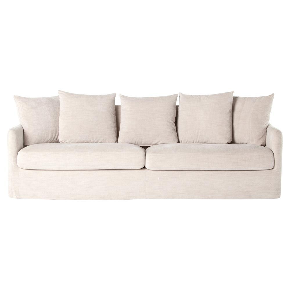 Delphina Coastal Ivory Slipcover Rounded Sofa | Kathy Kuo Home Regarding Rounded Sofa (View 14 of 20)