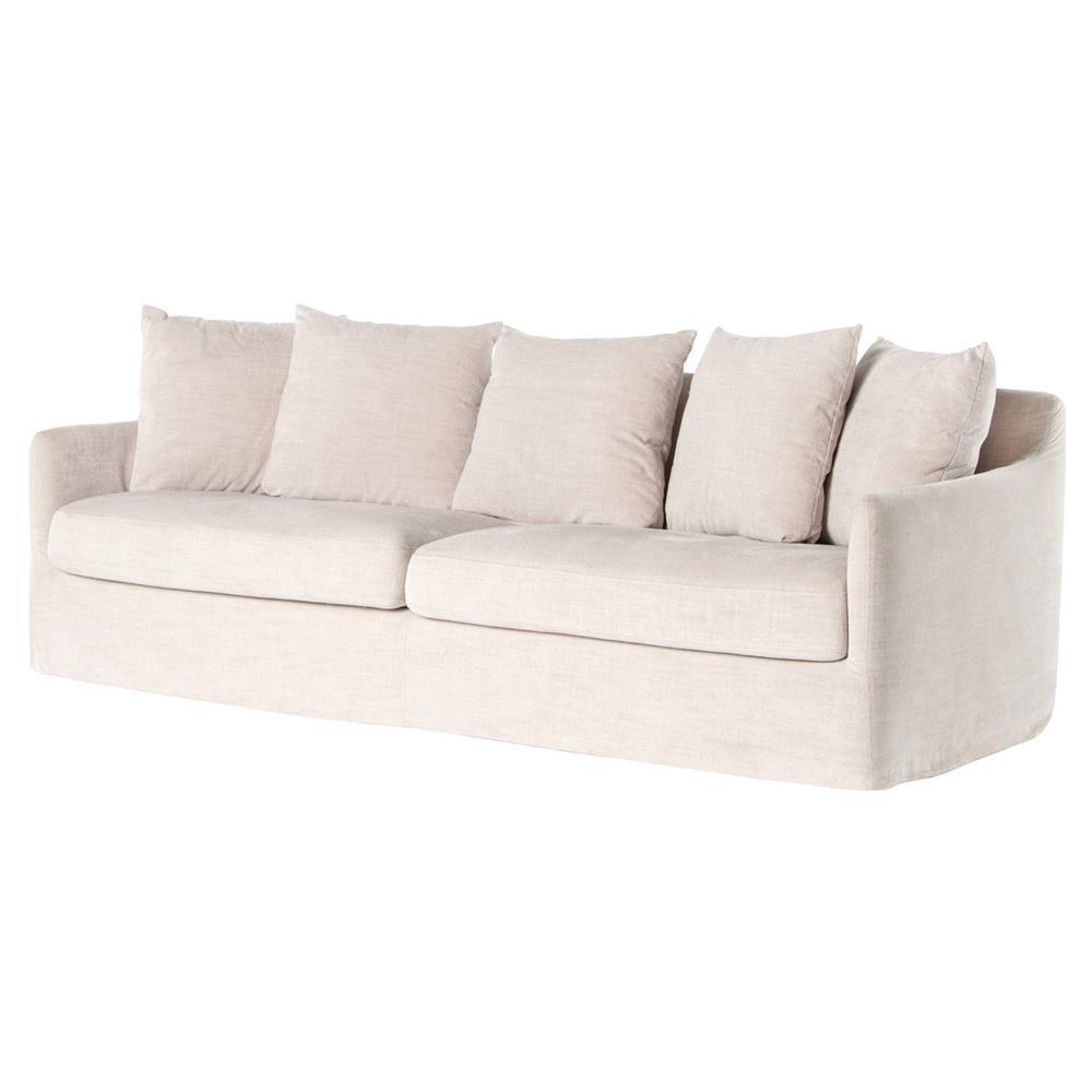 Delphina Coastal Ivory Slipcover Rounded Sofa | Kathy Kuo Home Within Rounded Sofa (View 17 of 20)