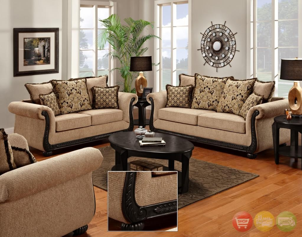 Delray Traditional Sofa & Love Seat Living Room Furniture Set For Traditional Sofas For Sale (View 7 of 20)