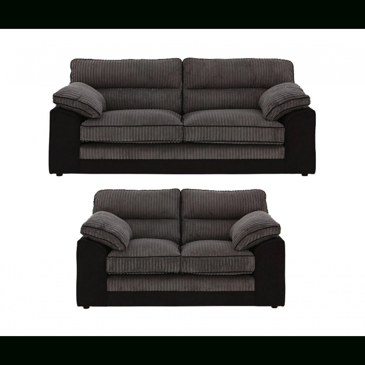 Delta 3 Seater Plus 2 Seater Sofa – Furnico Village For Black 2 Seater Sofas (Image 8 of 20)