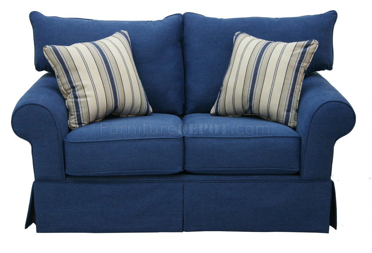 Denim Fabric Modern Sofa & Loveseat Set W/options Inside Blue Jean Sofas (Image 7 of 20)