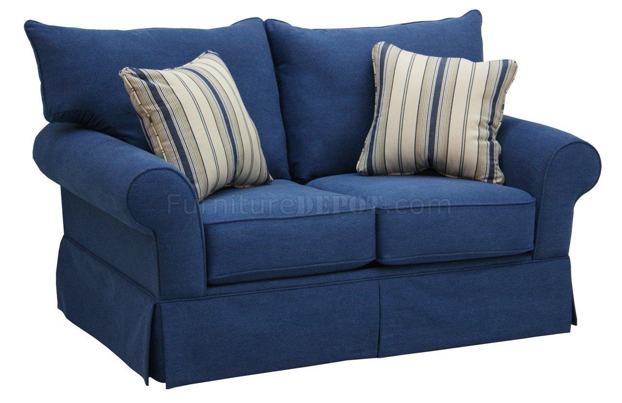 Denim Fabric Modern Sofa & Loveseat Set W/options Intended For Denim Sofa Slipcovers (Image 2 of 20)