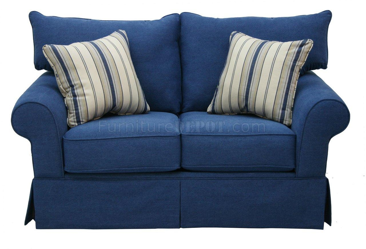 Denim Fabric Modern Sofa & Loveseat Set W/options Pertaining To Denim Sofas And Loveseats (Image 4 of 12)