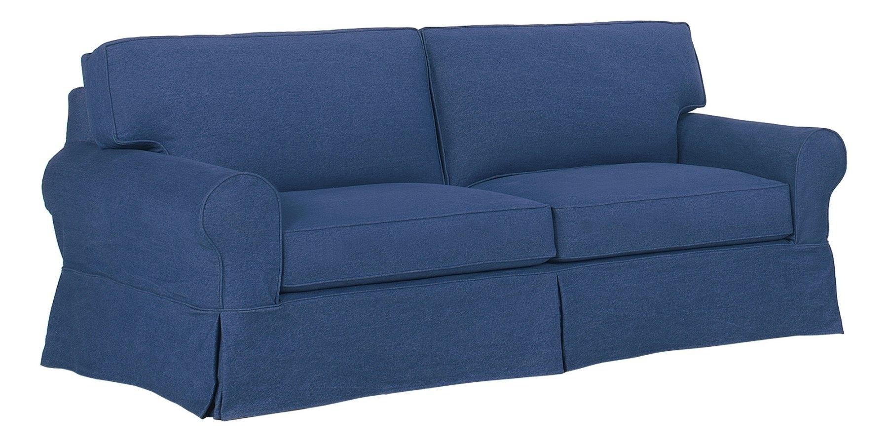 Denim Slipcovered Sofa With Chaise & Ottoman | Club Furniture Regarding Denim Sofas And Loveseats (Image 6 of 12)