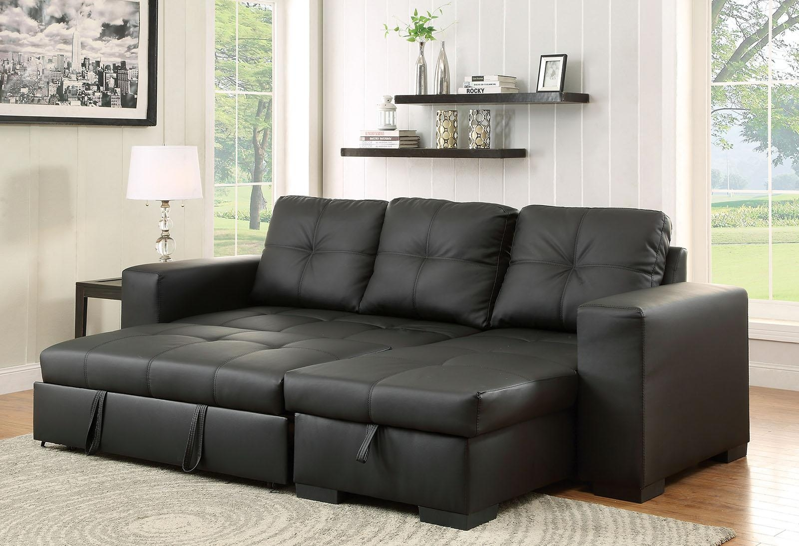 Denton Contemporary Style Black Leatherette Sofa Sectional W/ Pull With Pull Out Sectional (View 19 of 20)