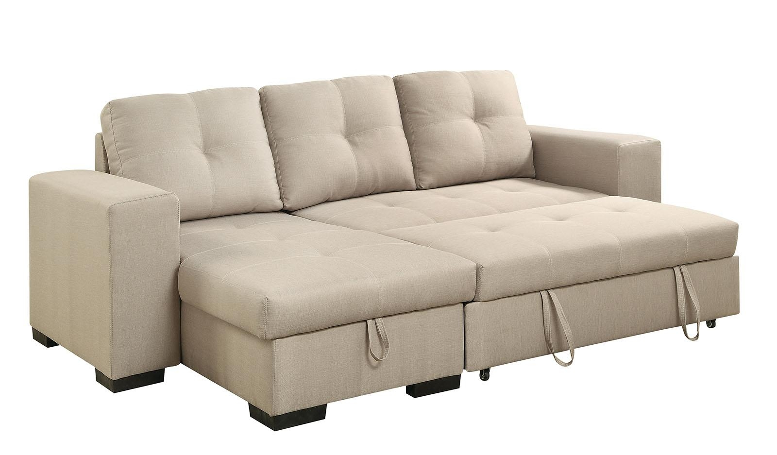 Denton Contemporary Style Ivory Fabric Sofa Sectional W/ Pull Out Bed Regarding Pull Out Sectional (Image 9 of 20)