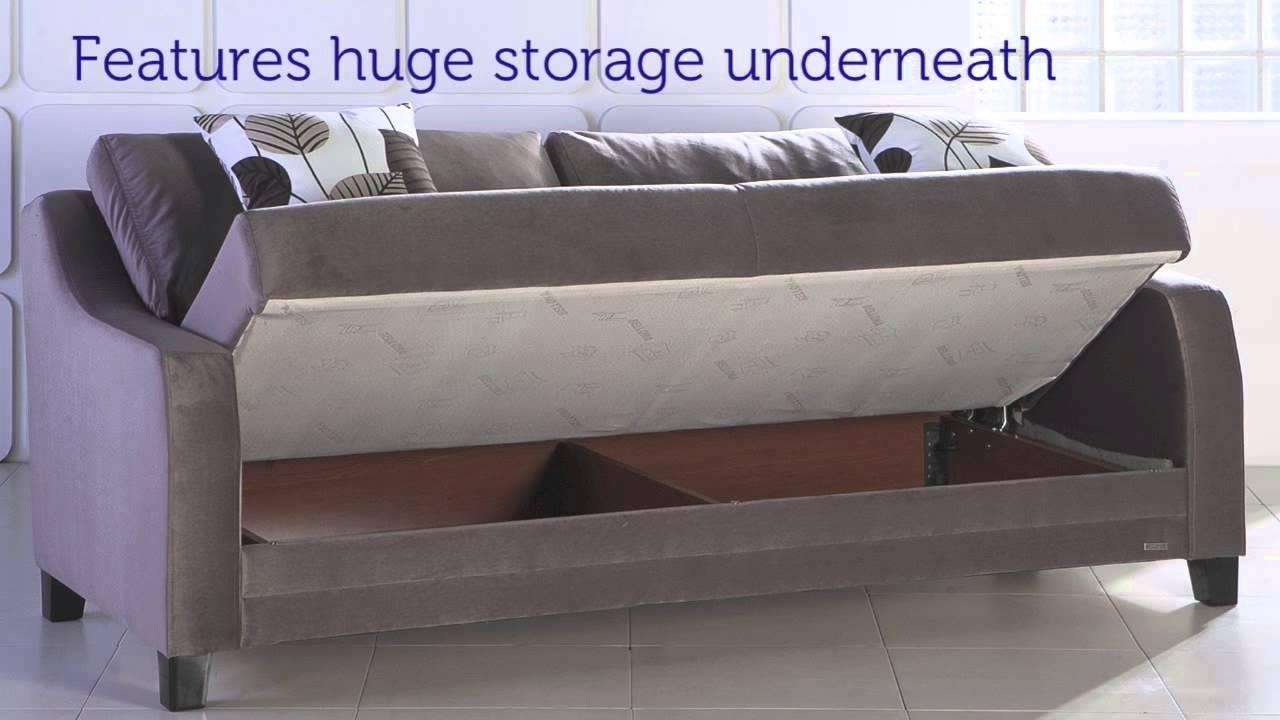 Denver Three Seat Sofa Sleeper With Storage In Light Brown – Youtube Throughout Sofa Beds With Storage Underneath (View 11 of 20)
