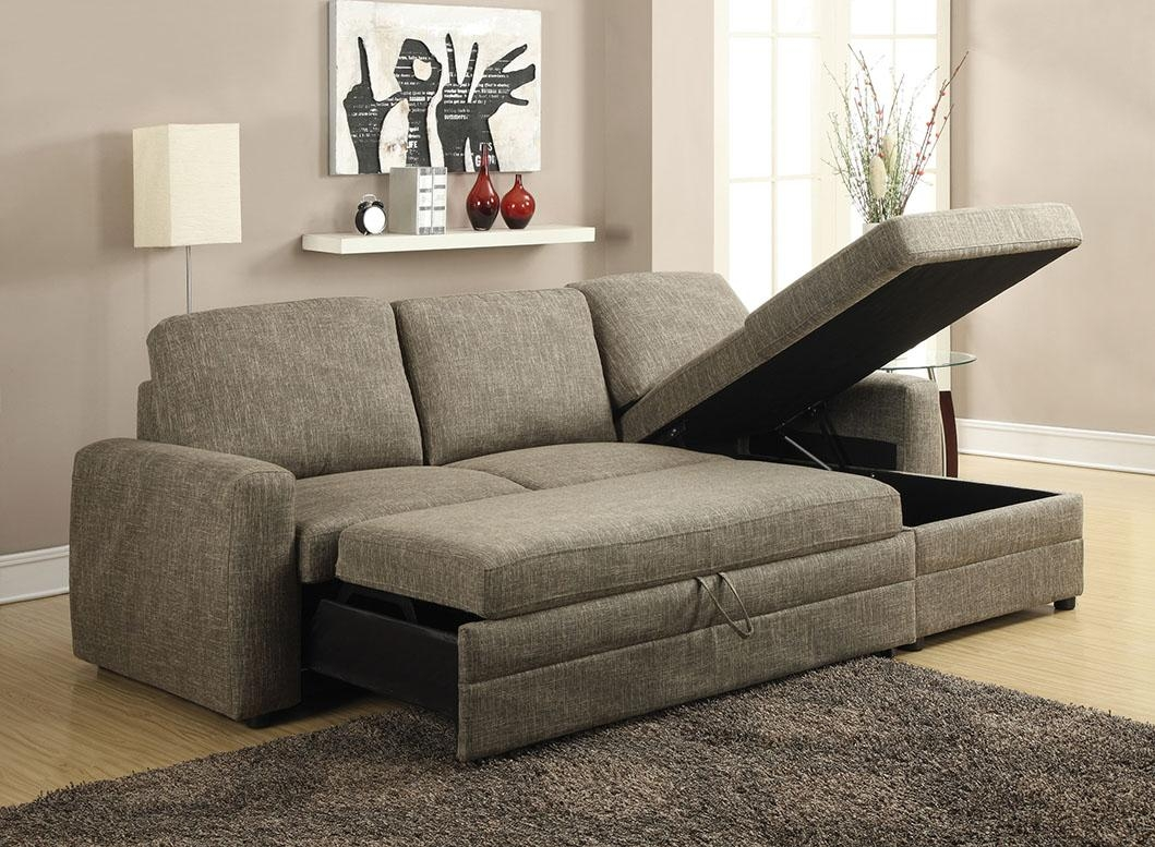 Derwyn Light Brown Linen Sectional Sofa Pull Out Bed W/ Chaise Storage Regarding Sectional Sofa Bed With Storage (View 19 of 20)