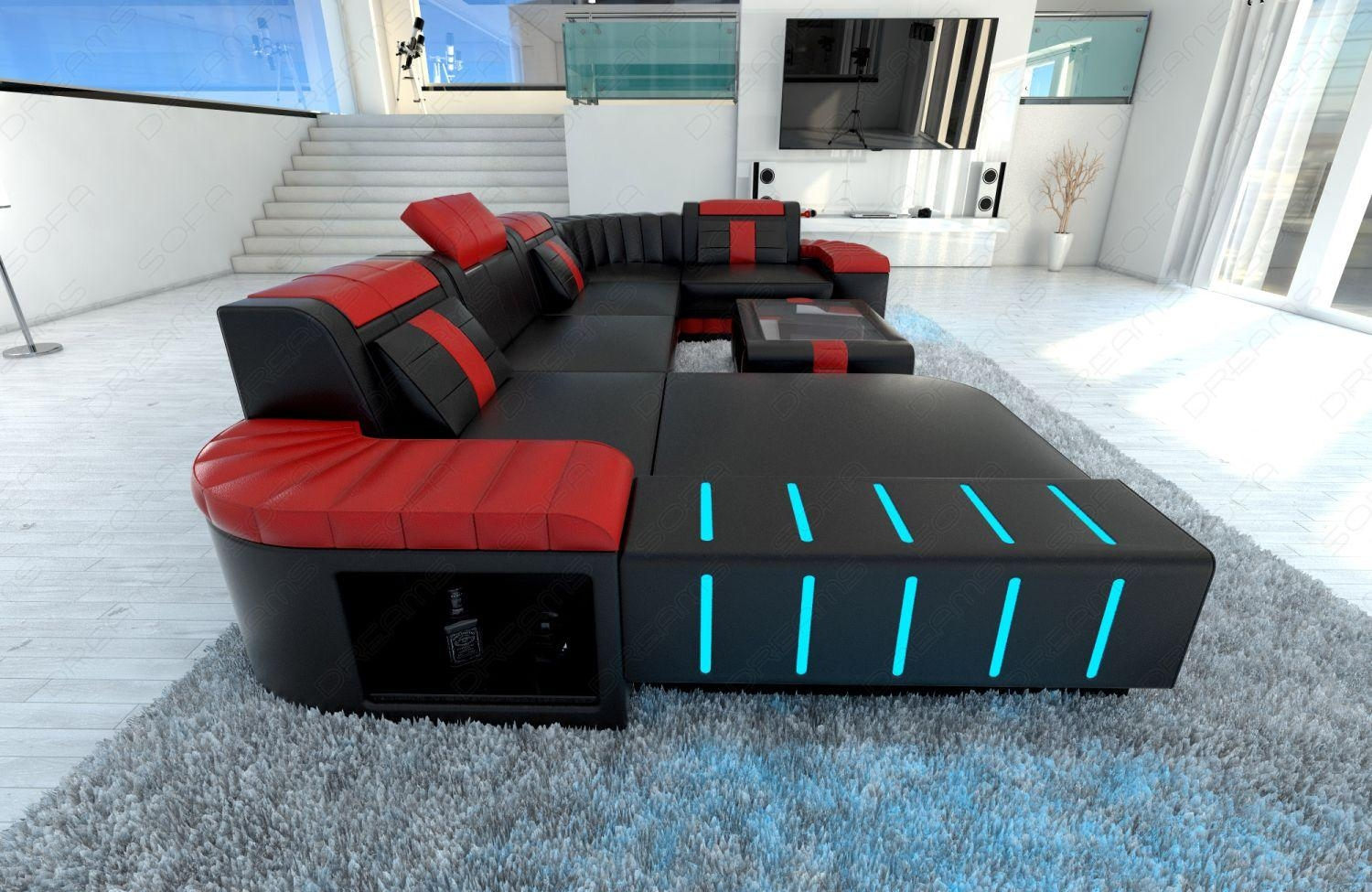 Design Sectional Sofa Bellagio Led U Shape Black Red | Ebay For Black And Red Sofas (Image 9 of 20)