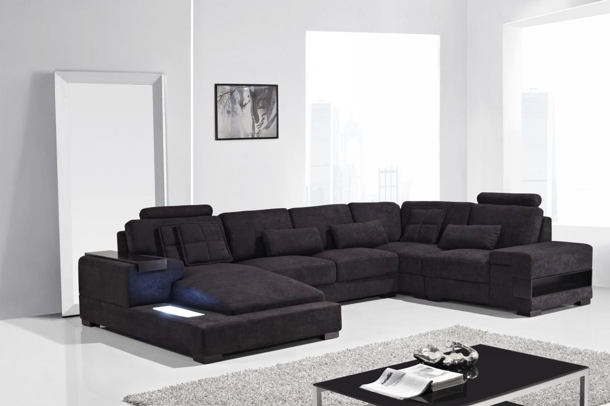 Diamond Modern Fabric Sectional Sofa With Black Fabric Sectional (Image 6 of 15)