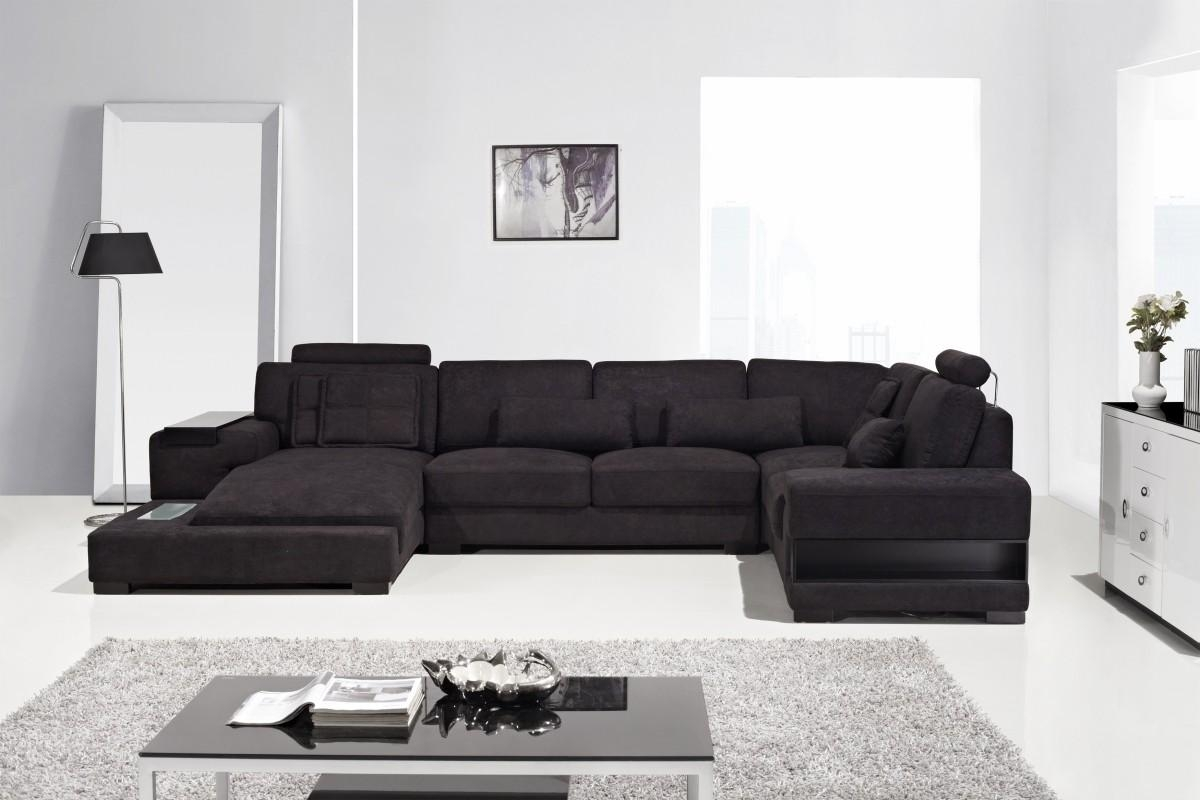 Diamond Modern Fabric Sectional Sofa With Regard To Black Fabric Sectional (Image 7 of 15)