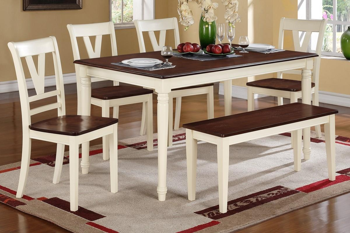 Dining Table + 4 Dining Chairs + Bench F2391/f1351/f1352 | On A Throughout Dining Table With Sofa Chairs (Image 13 of 20)