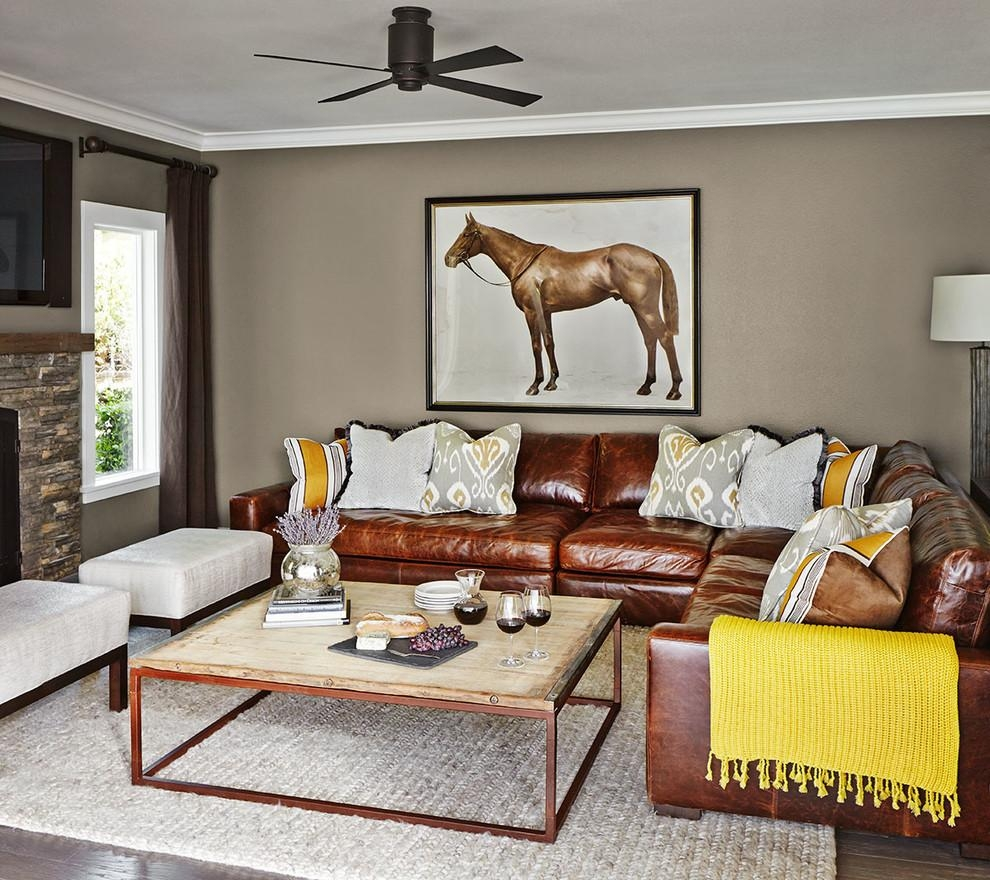 Distressed Leather Sectional Living Room Traditional With Leather In Traditional Sectional Sofas Living Room Furniture (Image 3 of 20)