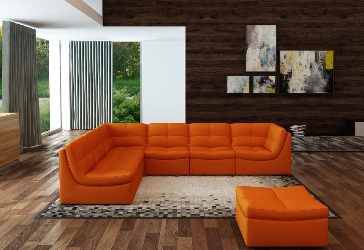 Divani Casa 207 Modern Orange Bonded Leather Sectional Sofa Inside Orange Sectional Sofas (Image 8 of 20)