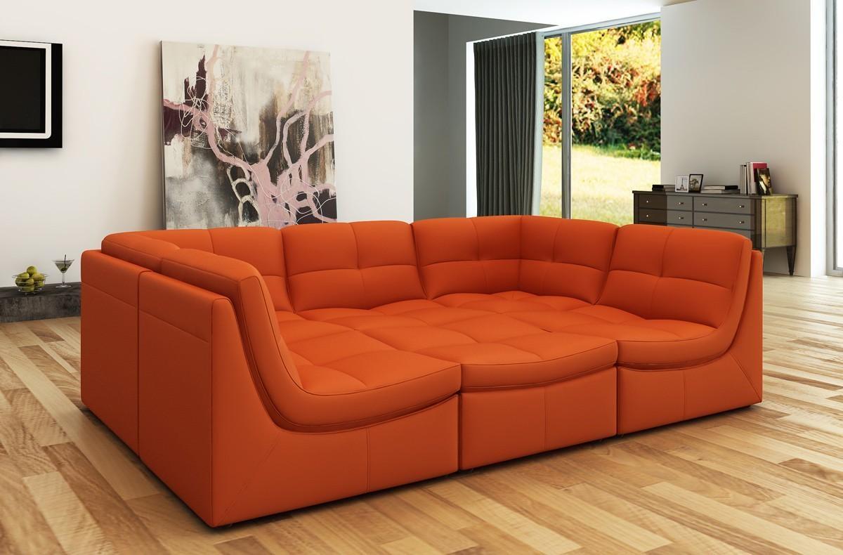 Divani Casa 207 Modern Orange Bonded Leather Sectional Sofa Throughout Orange Sectional Sofas (Image 9 of 20)
