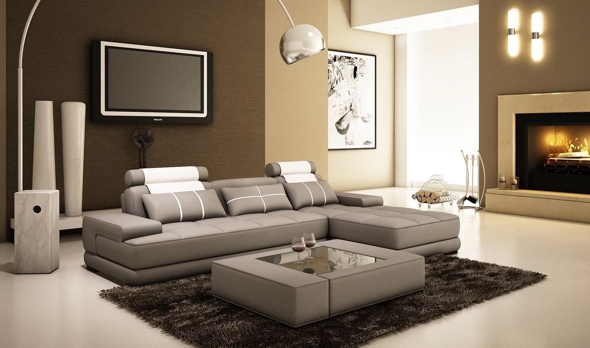 Divani Casa 5005A Mini Modern Grey And White Bonded Leather Throughout Modern Sofas Houston (Image 4 of 20)