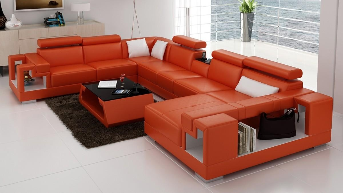 Divani Casa 6138 Modern Orange And White Leather Sectional Sofa For Orange Modern Sofas (Image 7 of 20)