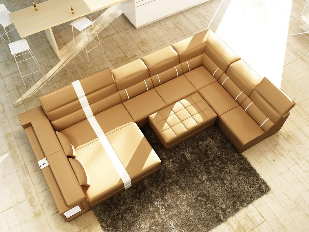Divani Casa 6144 Modern Camel And White Leather Sectional Sofa Within Camel Sectional Sofa (Image 9 of 15)