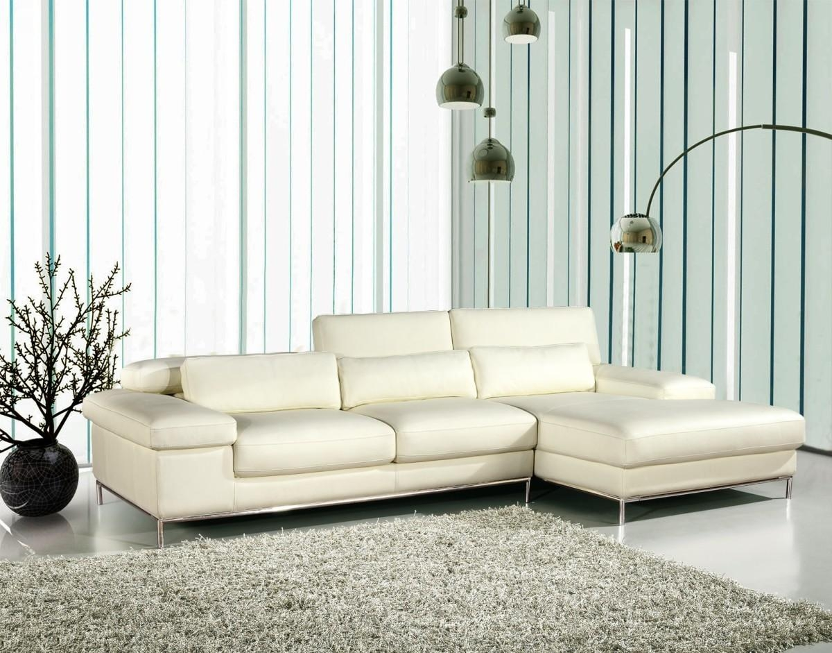 Divani Casa 681 – White Leather L Shape Sectional Sofa – Special With Regard To Leather L Shaped Sectional Sofas (Image 4 of 20)
