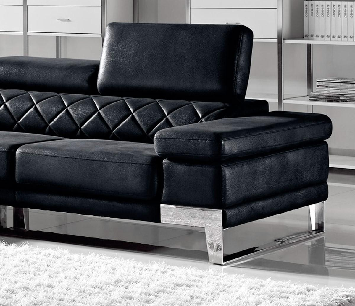 Divani Casa Arden Modern Black Fabric Sectional Sofa With Regard To Black Fabric Sectional (Image 8 of 15)